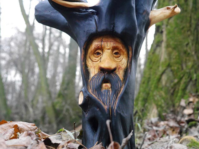 Hand carved Candlestick Spirit of the Wood
