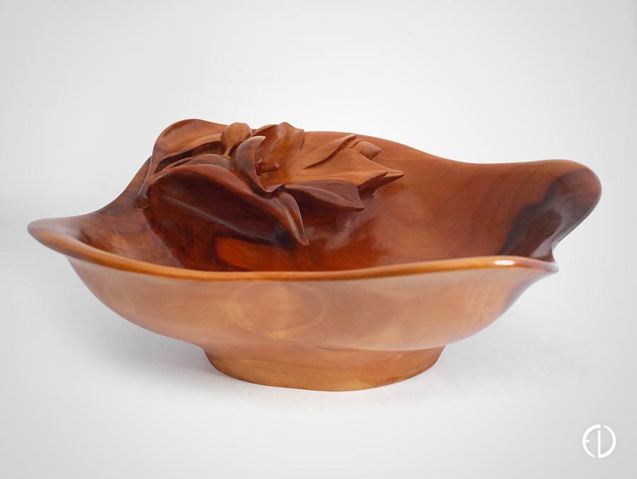 Hand Carved Apple Tree Bowl with Flower